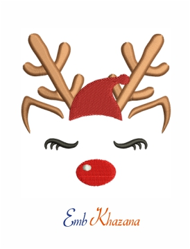 Reindeer with santa cap machine embroidery design