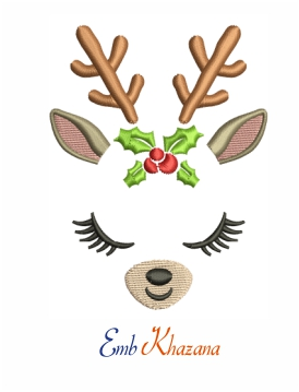 Female Reindeer Christmas Holiday Machine Embroidery Design