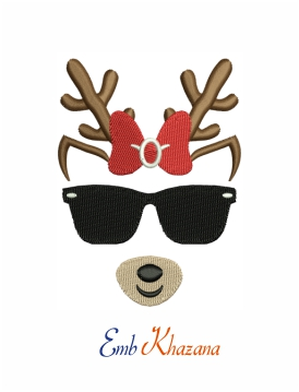 Reindeer With Bow And Sunglasses Machine Embroidery Design