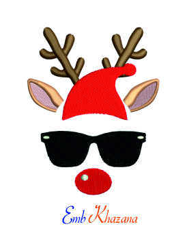 Santa Cap Reindeer Machine Embroidery Design