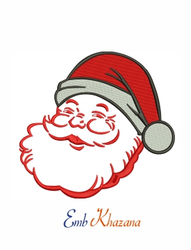 Santa face with big smile machine embroidery design