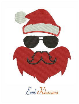Santa with cool beard and sunglasses machine embroidery design