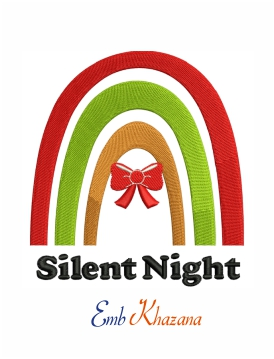 Silent night rainbow christmas machine embroidery design