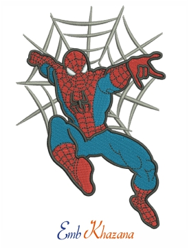 Spiderman swinging Embroidery design