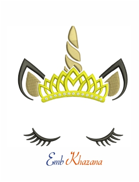 Queen unicorn wearing a crown machine embroidery design