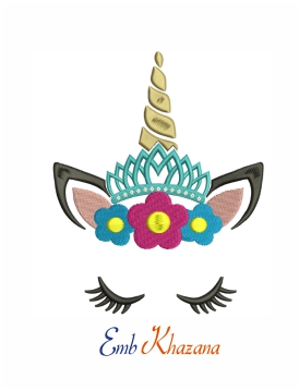 Unicorn with floral crown  machine embroidery design