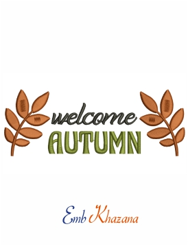 Welcome autumn machine embroidery design