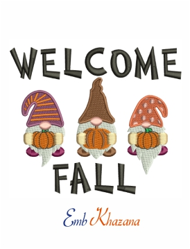 Welcome fall machine embroidery design